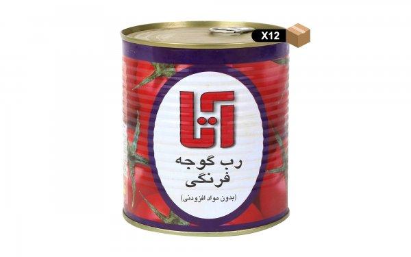 رب گوجهفرنگی آتا مقدار 800 گرم - بسته 12 عددی